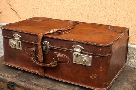 Old Closet Locked Retro Vintage Leather Suitcase Closeup Photo
