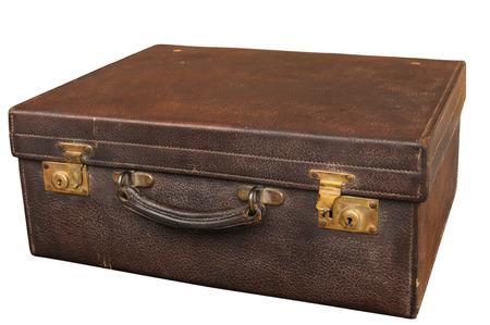 Old Closet Locked Retro Vintage Leather Suitcase Closeup Isolated On White  Background Photo