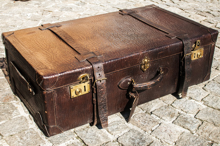 Old Closet Locked Retro Vintage Leather Suitcase On Stone Paved Surface  Closeup Stock Photo   39094006