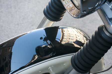 fender: Front fender of classic vintage motorcycle closeup with mirror reflection Stock Photo
