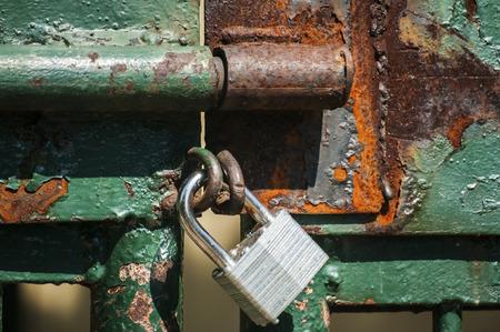 latticework: Latch on iron latticework door with locked padlock