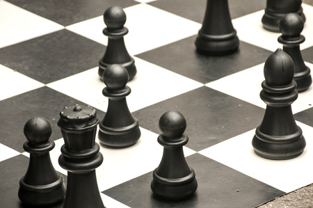 Part Of Checkerboard With Large Chess Pieces For Outdoor Street.. Stock  Photo, Picture And Royalty Free Image. Image 48274095.