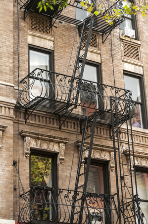 emergency stair: External fire escape staircase on old brick building