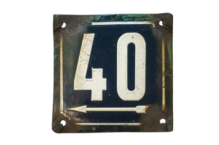 Weathered grunge square metal enameled plate of number of street address with number 40 closeup isolated on white background Foto de archivo