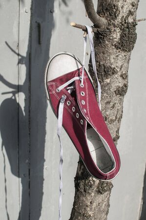 Red worn out vintage old canvas sneaker hanging on his laced ties Stock Photo - 126450576
