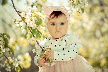Six months old baby holding cherry blossom branch and looking carefully at camera