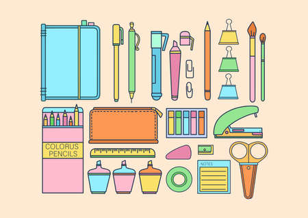 Set of vector items for school and university. Stationery, notepads, pencils, pens. Bright colors, flat, cartoon style. Vettoriali