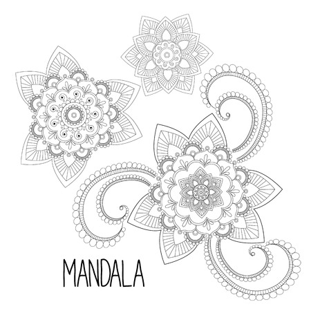 coloring sheets: Mandala coloring sheets. Abstract floral elements in mehndi indian style