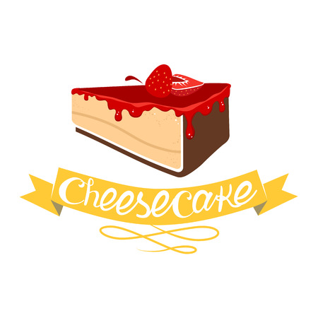 cheese cartoon: Cheesecake dessert with strawberry jam. illustration isolated on white background