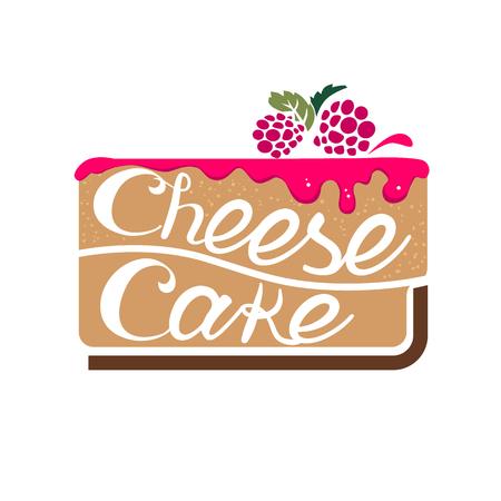 cheesecake: Cheesecake dessert with raspberry jam. illustration isolated on white background