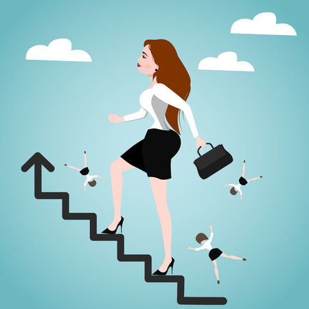Businesswoman climbing stairs. Success concept. Vector illustration