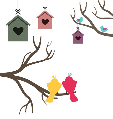 starling: Card with nesting boxes and birds sitting on the branch