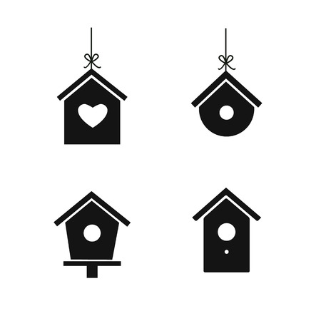 Bird house icon set isolated on white background