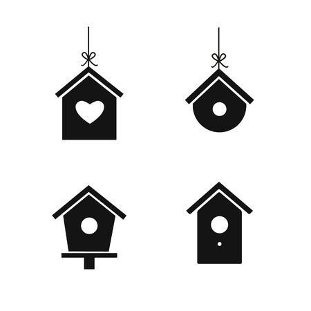 Bird house icon set isolated on white background