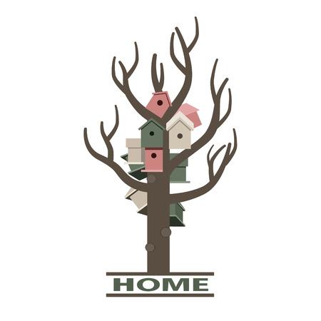 starling: Card with nesting boxes on the tree and home sign
