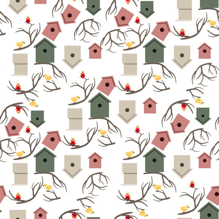 starling: Nesting box with colorful birds seamless pattern
