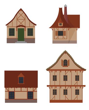 Colorful ensemble de maisons à colombages types icône