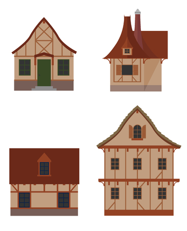 family in front of house: Colorful icon set of half-timbered houses types Illustration