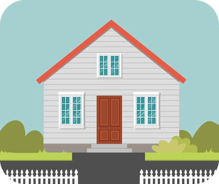 white fence: House with a white fence and red roof. Vector illustration