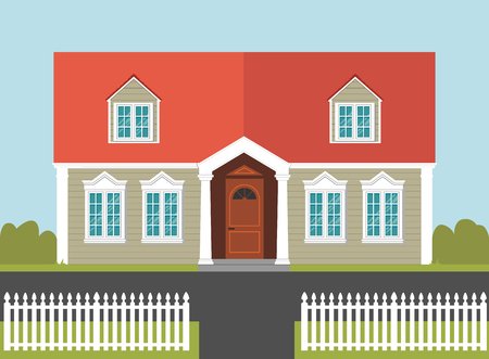 white fence: Family house with a red roof, white fence and garden on the background Illustration