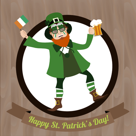 granting: Green Leprechaun dancing with beer and  Irish flag celebrating Saint Patricks Day on the wooden background