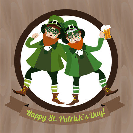 good s: Two green Leprechaun dancing with beer and  Irish flag celebrating Saint Patricks Day on the wooden background Illustration