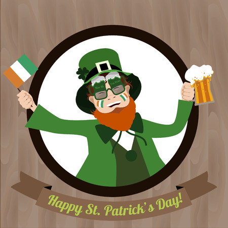 granting: Green Leprechaun with beer and  Irish flag celebrating Saint Patricks Day on the wooden background Illustration