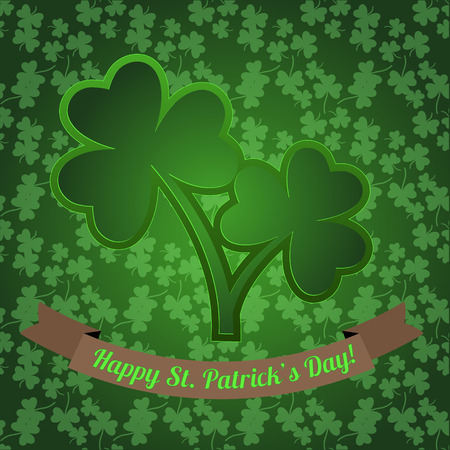 good s: Irish shamrock with clover seamless pattern on the green background. Greeting card for Saint Patricks Day