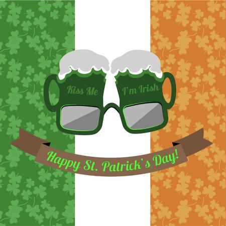 shamrock seamless: Beer glasses Kiss Me Im Irish for Saint Patricks Day on the Irish flag background with shamrock seamless pattern Illustration
