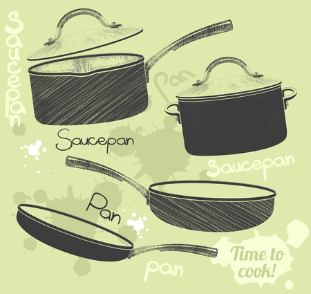 pans: Pans and pots realistic set with frying pan saucepan and bowl isolated vector illustration