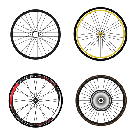 road bike: Road and Sport Bike Wheels and Tires Illustration
