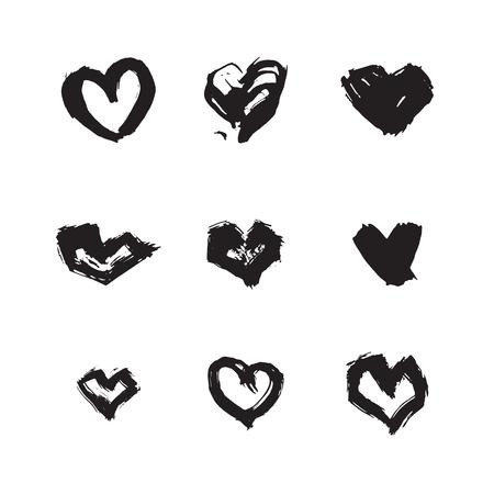 forme: Main symbole du coeur d'encre dessiné réglé. Résumé forme de coeur de brosse noir texturé isolé sur fond blanc.