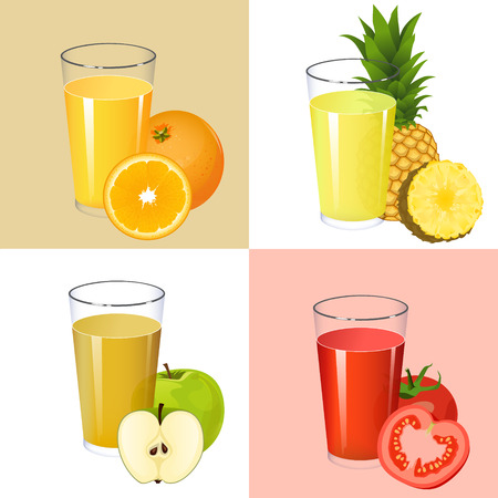 orange juice: Set of fresh juices. Realistic transparent glasses with squeezed fruit citrus and vegetable juices orange apple pineapple tomato isolated on background