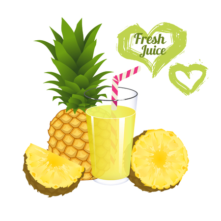 pineapple juice: Pineapple juice isolated on white background. Glass of fresh bananas juice illustration