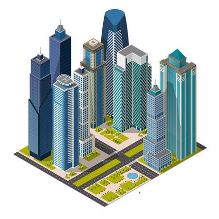 等尺性都市、メガポリス コンセプト事務所ビル、高層ビル、公園、通り。3 d 平面図をベクトルします。