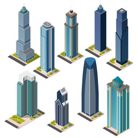 Isometric skyscrapers and office buildings houses roads and parks. Set vector landmarks. Isolated buildings. Flat vector.