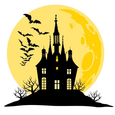 Halloween uitzicht op het kasteel, de maan, vleermuizen en heuvel. Silhouet zwart en geel vector illustratie.