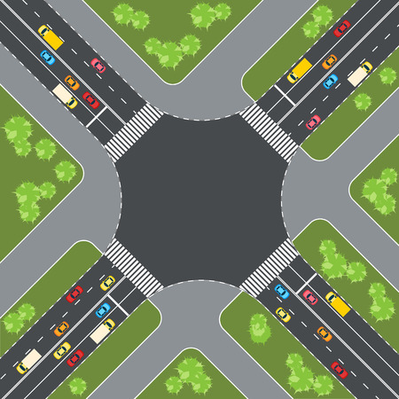 intersection: Aerial view of cars at intersection vector illustration