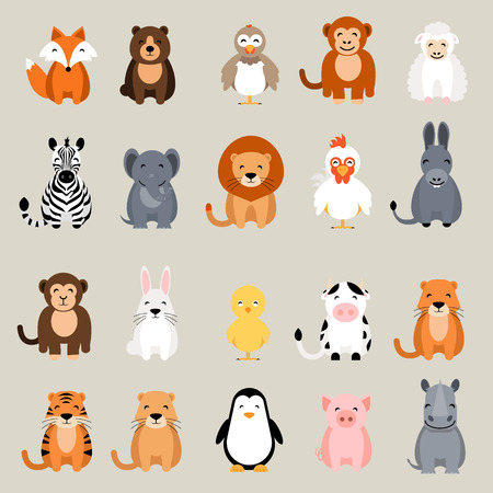 lion and lamb: Cute vector animal set. Fox, bear, elephant, bear, hen, chicken, chick, rooster, lion, monkey, tiger, pig, donkey, rabbit, rhino, cow, zebra, sheep, penguin
