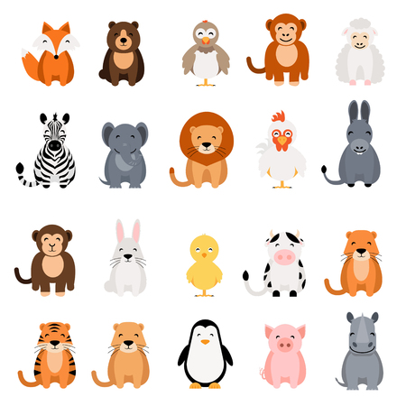 Cute vector animal set on white background. Fox, bear, elephant, bear, hen, chicken, chick, rooster, lion, monkey, tiger, pig, donkey, rabbit, rhino, cow, zebra, sheep, penguin Illustration