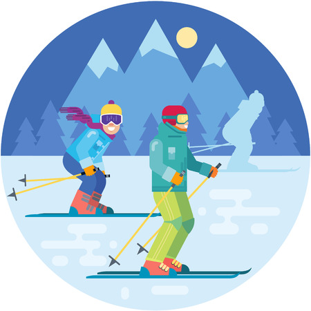 Cartoon skiers in the mountains vector illustration. Skiing sportsmen characters in motion in ski suits . Smiling men on skis.