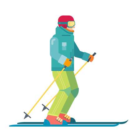 Cartoon skier isolated. Skiing sportsman character in ski suit vector illustration. Smiling man on skis. 일러스트