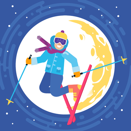 Jumping happy skier on the moon background vector illustration. Smiling skiing sportsmen character. Ilustrace