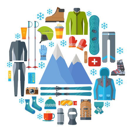 Winter sportswear and equipment round icon set. Skiing, snowboarding vector isolated. Ski resort elements in flat design illustration