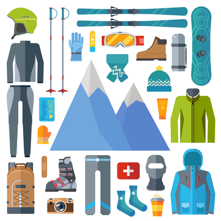 Winter sportswear and equipment icon set. Skiing, snowboarding vector isolated. Ski resort elements in flat design illustration