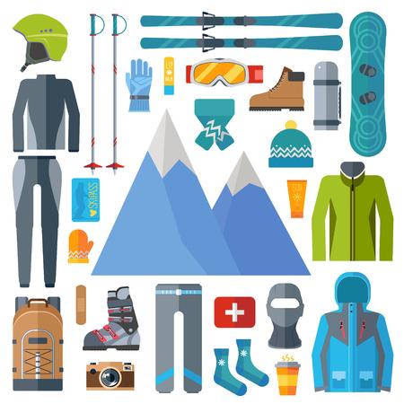 Conjunto de iconos de equipo y ropa deportiva de invierno. Esquí, vector de snowboard aislado. Elementos de la estación de esquí en la ilustración de diseño plano Foto de archivo - 93087717