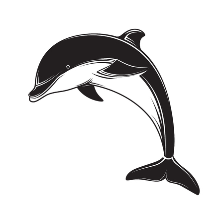 Dolphin icon black silhouette. Dolphin emblem and label. Vectores