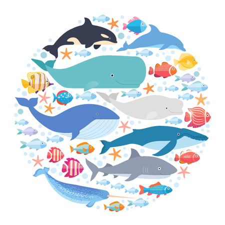 Marine mammals and fishes set in circle. Narwhal, blue whale, dolphin, beluga whale, humpback whale, bowhead and sperm whale vector isolated Illustration