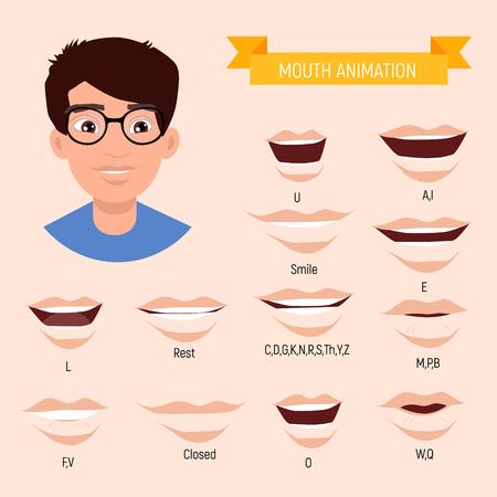 Male mouth animation. Phoneme mouth chart. Alphabet prononciation Illustration