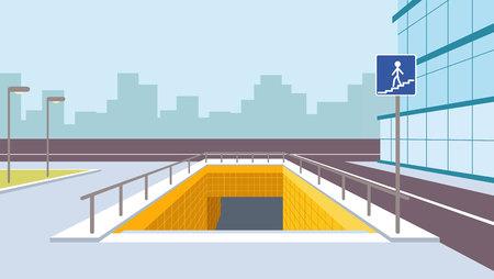 Underground pedestrian crossing perspective illustration. City view Vector Illustration